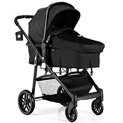 BABY JOY Baby Stroller, 2 in 1 Convertible Carriage Bassinet to Stroller, Pushchair with Foot Cover, Cup Holder, Large Storage Space, Wheels Suspension, 5-Point Harness, Deluxe Black