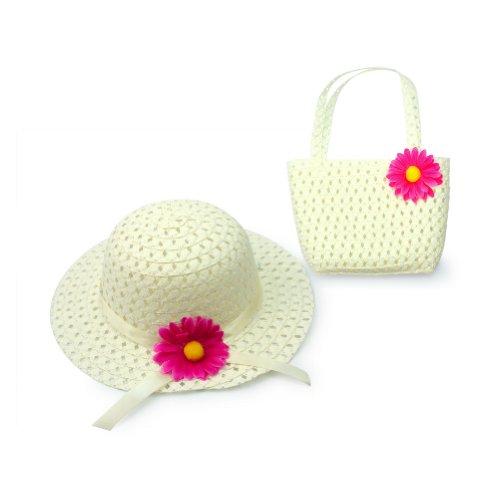 Lovely Charm Princess Mädchen Strohhut und Handtasche mit Blumendekoration, Weiß