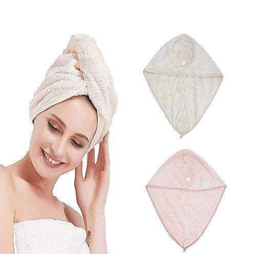 Toalla de Pelo de Microfibra Turbante 2 Piezas Ultra Absorbente Toallas para Secar Pelo con Botón,Pelo Gorro de Cabeza de Secar Rápido para Mujeres,Absorbentes de Agua Pelo Seco Sombreros