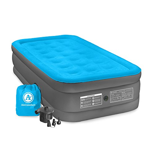 Air Comfort Camp Mate Air Mattress with High Power Battery Pump - Twin Size, Blue