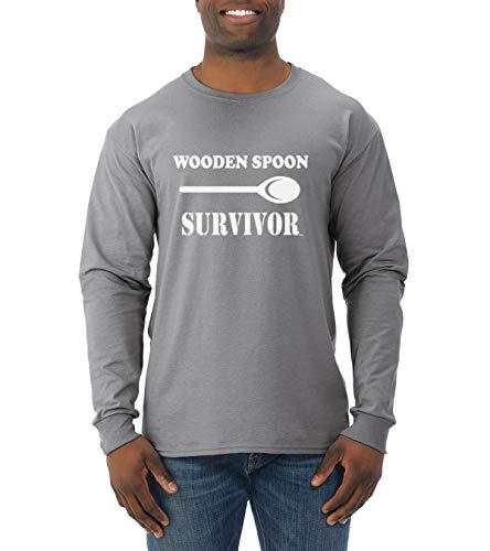 Wooden Spoon Survivor | Mens Humor Long Sleeve T-Shirt, Heather Grey, 2XL