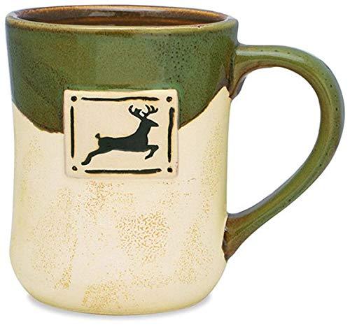 Leaping Deer Ceramic Pottery Style Coffee Mug, 16 oz