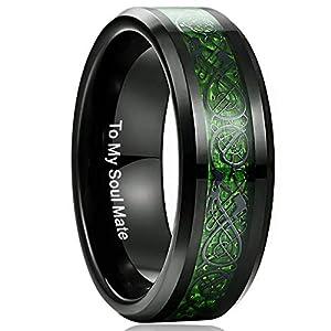 NUNCAD Ring Herren Damen Unisex aus Wolfram mit Keltischen Drachen Kohlefasern Hellgrün für Hobby Fashion Hochzeit Verlobung Geburtstag Größe 54 (14)