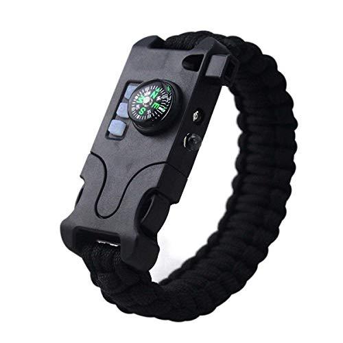 HFJ&YIE&H Outdoor-Survival-Armband Herren-Armband Armband Laser-Taschenlampe Hilfe Licht Kompass Whistle Nehmen Sie Karten-Nadel-Fallschirm-Schnur-Seil 7-in-1