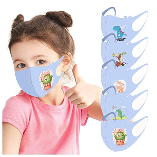 IRRIT Kids Ocean Series Lovely Cartoon face_mask Coronàvịrụs Protectịon, Washable Adjustable Dustproof Cotton Shield Reusable, Breathable Air Filter, for Boys Girls Outdoor (Sky Blue 5PC)
