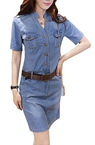 Blansdi Damen Elegant Jeanskleid V-Ausschnitt Kurzarm Partykleid Bluse Tunika Schlank Bodycon Denim Cocktailkleid Minikleid mit Gürte
