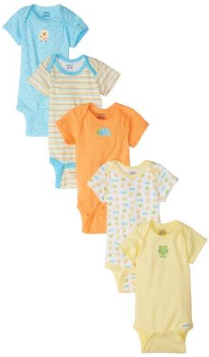 Gerber Baby Girls' 5-Pack Variety Onesies Bodysuits, Frog and Duck, Newborn