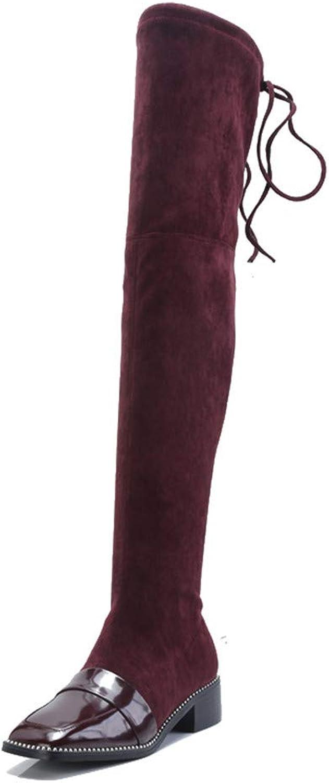 Nine Seven Genuine Patent Leather Women's Square Toe Low Heel Fashion Handmade Retro Ladies Over The Knee Boot