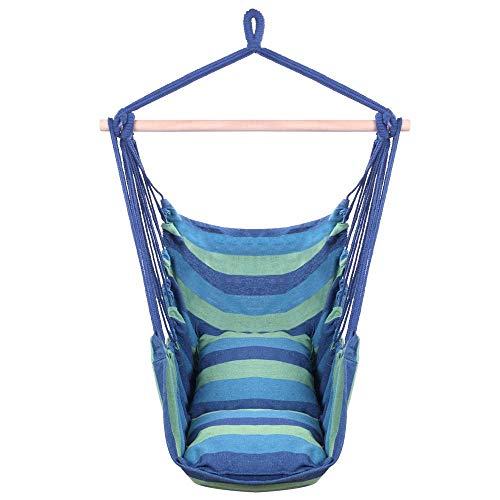 Hammock Chair Hanging Rope Swing Seat for Indoor Or Outdoor Spaces - 500Lbs Loading Weight - with 2 Seat Cushions (Blue & Green)