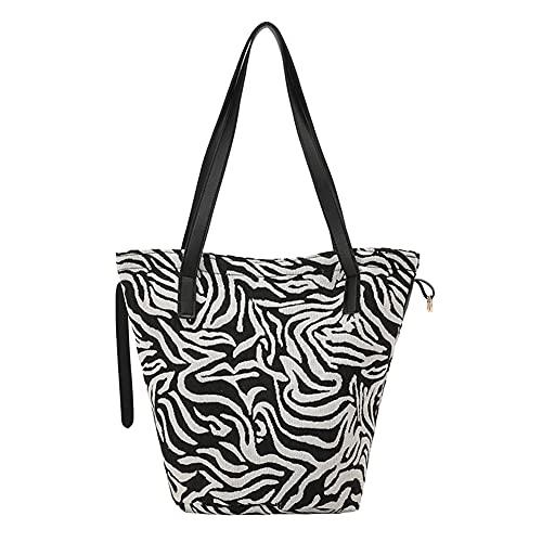 Borsa per la spesa con motivo di animali, borsa da spiaggia con motivo tropicale, borsa a spalla vintage, borsa a tracolla per donna, 2 motivi zebrati e tropicali