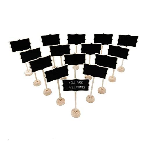 Tablero de mensajes de madera de doble cara, carteles de pizarras con base, pantalla cuadrada pequeña pizarra, para fiesta, restaurante, boda, barra encimera y hogar AJMINI