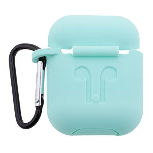 Neeoon Fodral   Skyddande silikonfodral för Apple AirPods   Skyddsfodral mot damm, repor och fall   Väska Case Cover Hud Apple AirPods tillbehör (Mint-karbinhake)