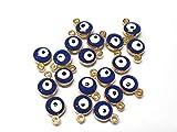Nazar Boncugu Schmuckanhänger kettenanhänger armband emaillierte Amulett anhänger, 10 Stück, Blaues Auge, Evil Eye, DIY-Schmuck Farbauswahl (Gold)