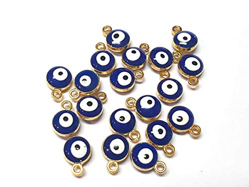 Nazar Boncugu Jewellery Pendants Chain Pendant Bracelet Enamelled Amulet Pendants, Pack of 10, Blue Eye, Evil Eye, DIY Jewellery Colour ca. 10x6 mm gold