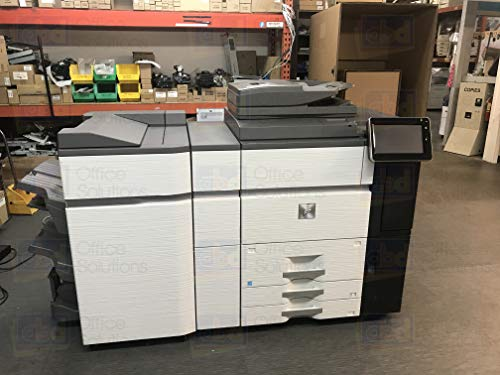 Sharp MX-7580N Color Laser Multifunction Printer - 75ppm, Copy, Print, Scan, MX-FN22 4K Stacking 100-Sheet Staple/Saddle Stitch Finisher, Duplex, Network, 2 Trays, High Capacity Tandem Tray