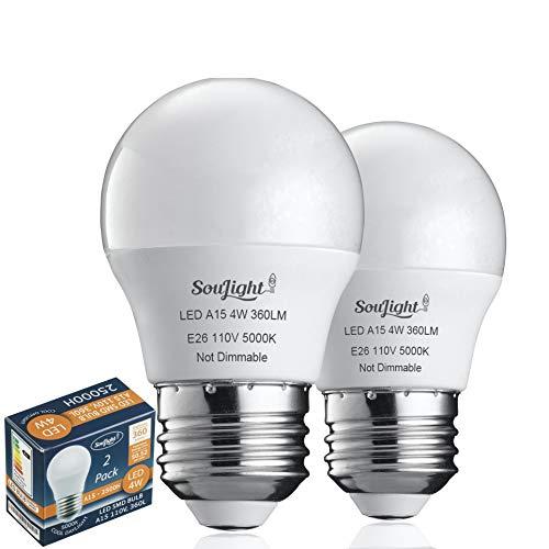 Refrigerator Light Bulb LED - SMD A15 4W 40Watt Equivalent - Waterproof E26 Base - 5000K Daylight White - 360 Lumen - Energy Saving – 4W Led Appliance Bulb - Replacement Bulbs - 2 Pack