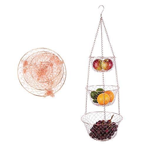 LxwSin Portafrutta da Appendere 3 Ripiani, Cesto per Frutta da Appendere, Ciotola da Appendere Supporto in Filo Metallico, Resistente Organizzatore da Cucina per Frutta/Verdura/Fiori/Pianti, Oro Rosa