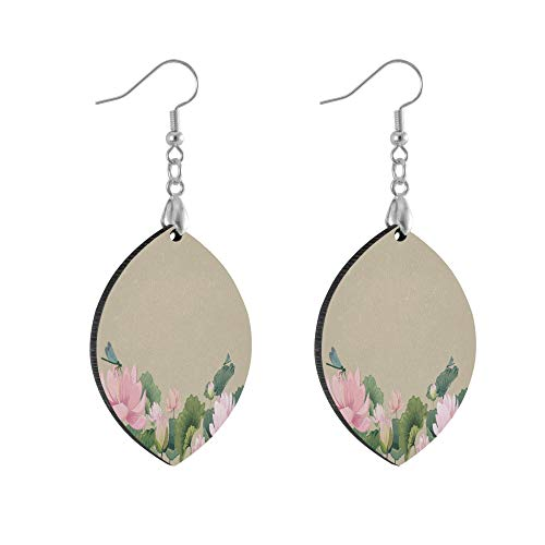 ADMustwin Wooden Earrings Floral Lotus Flowers Dragonfly for Women Girls Silver Plated Copper Earrings Leaf Earrings Lightweight Dangle Earrings Fashion Jewelry