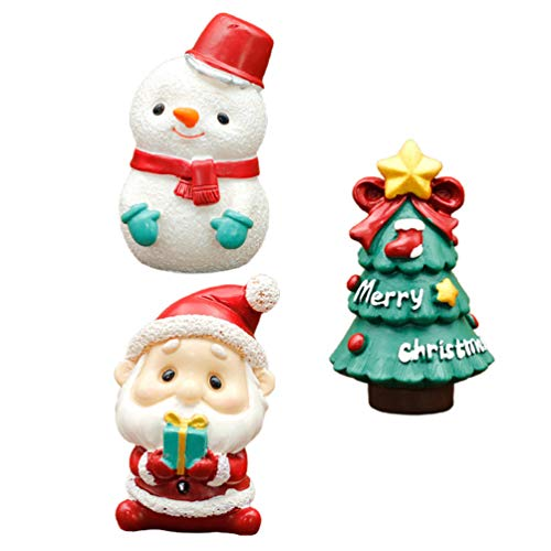 ABOOFAN Christmas Miniatures Figurine Mini Santa Claus Xmas Tree Snowman Cake Topper Ornament Decorations for Crafts Snow Globes Dollhouse Fairy Garden Advent Calendar Fillers 3pcs