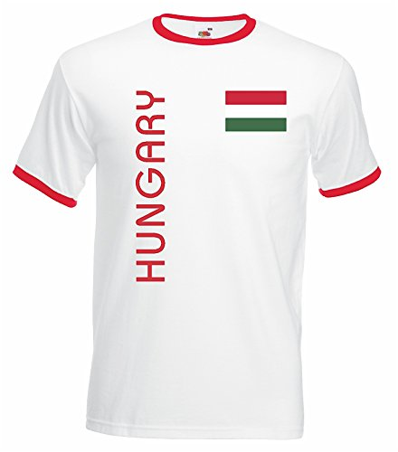 World-of-Shirt Herren Retro T-Shirt Ungarn Trikot EM 2016|Weiss-M