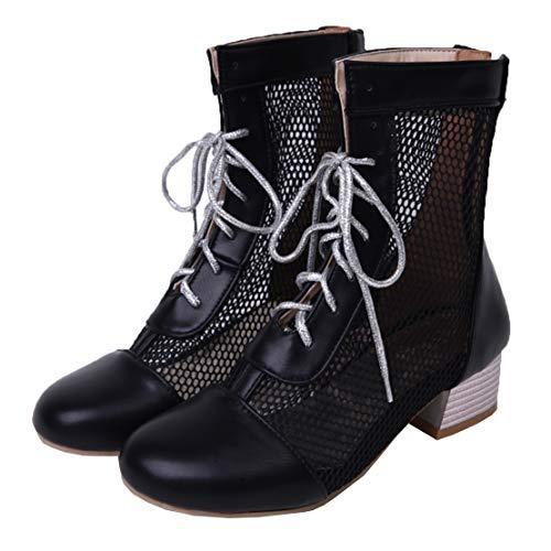 MISSUIT Damen Sommerstiefeletten Mesh Blockabsatz Stiefeletten mit Schnürung Cut Out Schuhe(Schwarz,41)
