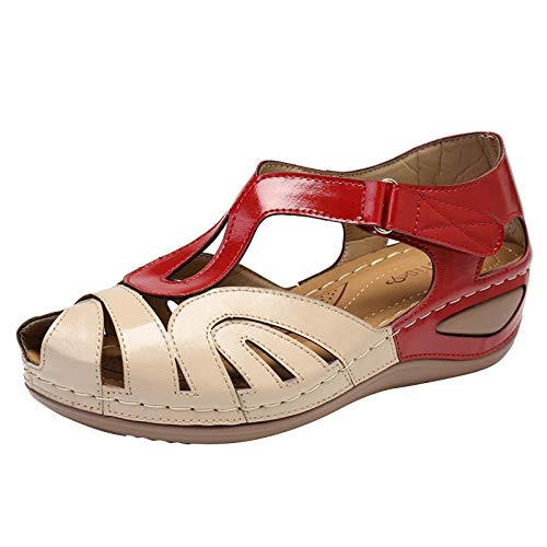 Damen Sandalen Basic Closed Toe Mid Wedge Hohl geschnitzt Sommer Outdoor Sandals(1-Rot/Red,37)
