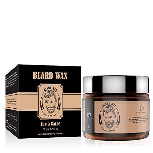 THE MAN COMPANY Beard Wax for men, Mustache Wax - Natural Beard Styling Balm (1.7 oz) - Beeswax based Beard Balm with Argan Oil, Geranium - Moisturizing, no Itchy Beard, Frizz Control - Paraben Free