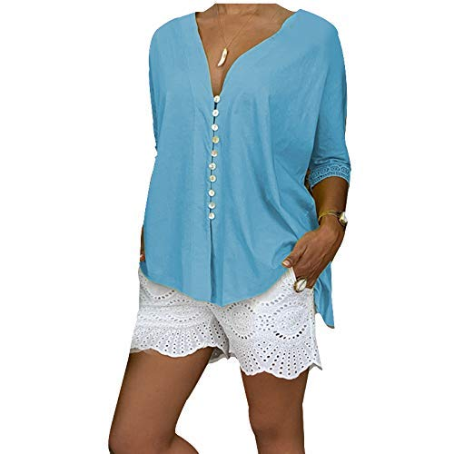 Huaheng Vrouwen Kant V-hals Button-down Shirt Baggy Tuniek Cropped Sleeve Tops Zomer Strand XL Blauw