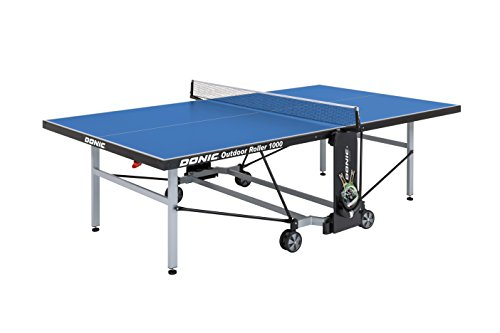 DONIC Outdoor Roller 1000 Tischtennisplatte, Weißaluminium-Schwarz-Blau, One Size