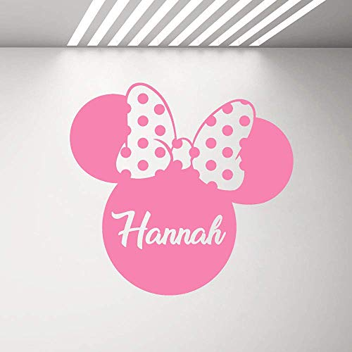 Calcomanías Personalizadas Para Niñas Plantilla Minnie Mouse Silueta Cabeza Con Arco Mural De Pared Pegatinas Con Nombre De Dibujos Animados Para Habitaciones De Niños 60X57Cm