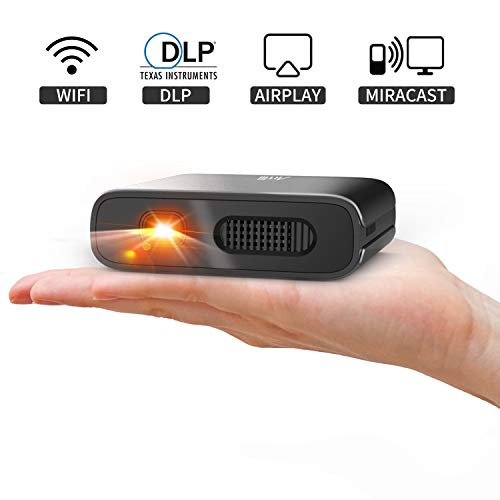 Mini Projector - Artlii Mana Portable DLP Projector with 5200mAh Built-in Battery for Travel, Support 1080P WIFI 3D and Auto Keystone Correction, WIFI Projector for iPhone and Phone