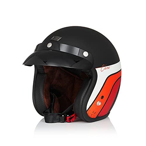 Origine Casco moto aperto casco Jet stile retrò con visiera parasole adatta uomo donna