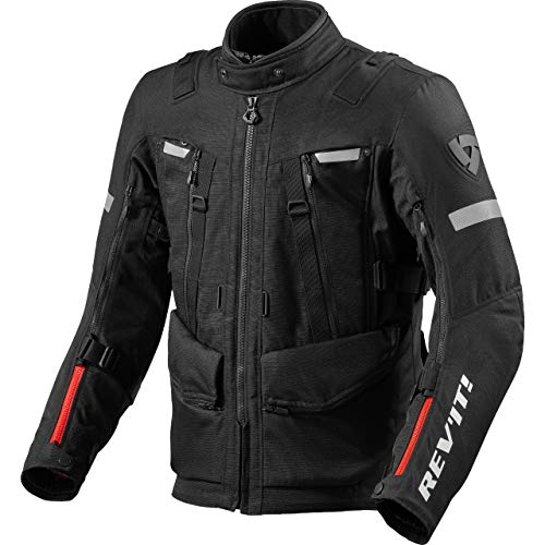 REV'IT! Chaqueta de motorista con protectores, chaqueta de moto Sand 4 H2O textil, para hombre, Tourer, todo el año, poliéster Negro L