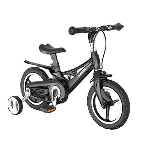 Bicicleta Niños AGYH 14 Pulgadas De La Bicicleta Infantil, Asiento Manillar Regulable En Altura, con Ruedas Auxiliares, Guardabarros Extendida, 4 Colores Disponibles (Color : Black)
