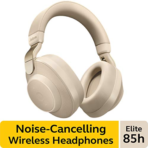 Jabra Elite 85h Wireless Noise-Canceling Headphones, Gold Beige - Over Ear Bluetooth Headphones Compatible with iPhone and Android - Built-in Microphone, Long Battery Life - Rain and Water Resistant