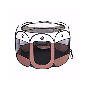 BODISEINT Portable Pet Playpen, Dog Playpen Foldable Pet Exercise Pen Tents Dog Kennel House Playground for Puppy Dog Yorkie Cat Bunny Indoor Outdoor Travel Camping Use (Medium, Coffee – Beige)