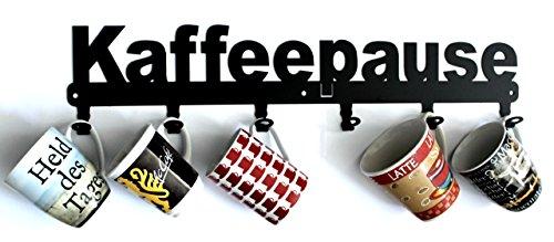steelprint.de Tassenhalter Kaffeepause für 6 Tassen - auch als Garderobe verwendbar - Metall - Schwarz (ohne Tassen)