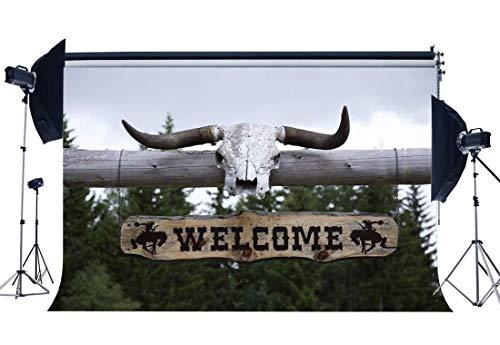 EdCott West Cowboy Fondale 10X8FT Vinile Benvenuto Americano Selvaggio West Fondali Sopravvissuti Antilope Corno Fotografia Sfondo per Bambini Adulti Outdoor Tour Turismo Photo Studio Puntelli QB91