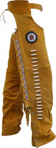 Chaps Fransenhose Reiter Cowboy Indianer Western Lederchaps Lederhose Ocker, Größe:60