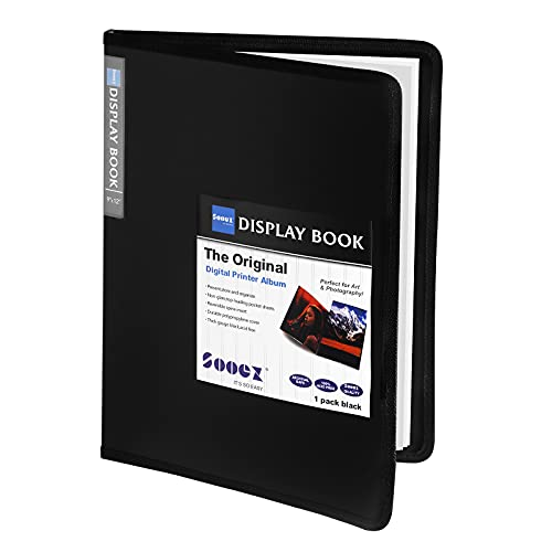 Sooez 9x12 Binder with Plastic Sleeves, 24-Pocket Heavy Duty Art Portfolio Folder with Clear Sheet Protectors, Display 48 Pages, Presentation Book for Artwork, Sheet Music, Document