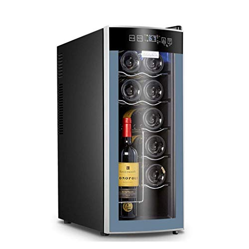 CHENJIU 12 Bottle Dual Zone Thermoelectric Red & White Wine Cooler/Chiller Counter Top Wine Cellar with Digital Temperature Display, Freestanding Refrigerator Smoked Glass Door Quiet Operation Fridge