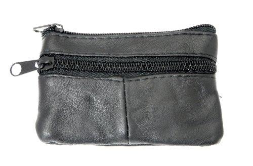 Pelle patchwork moneta borsa / keyholder con doppie tasche con zip lati - colore nero