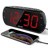 ANJANK 7' Large LED Display Digital Radio Alarm Clock,Easy to Read,6 Level Dimmer,USB Charger,FM Radio with Sleep Timer,Adjustable Volume,Battery Backup,Snooze,Alarm Clocks for Bedroom,Bedside,Desk