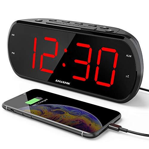 ANJANK Digitaler Wecker mit 17,8 cm großem LED-Display, 6-stufiger Dimmer, USB-Ladegerät, FM-Radio mit Sleep-Timer, einstellbare Radio-Lautstärke, Batterie-Backup, Schlummerfunktion, einfach einzustellende Wecker für Schlafzimmer