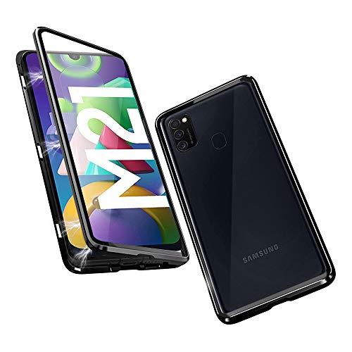 OVANN Hülle für Samsung Galaxy M21 Magnetische Adsorption Handyhülle 360 Grad Schutz Starke Magneten Aluminium Rahmen Gehärtetes Glas Stoßfest Metall Flip Cover
