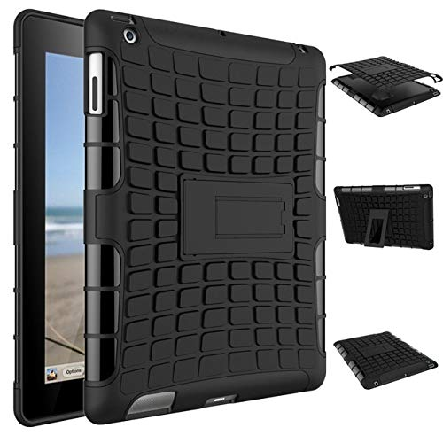 Skhawen para iPad 2 3 4, Hybrid a Prueba de Golpes Activo TPU y Cubierta de Armadura de PC para iPad Model A1430 A1460 A1395 (Color : Black Black)