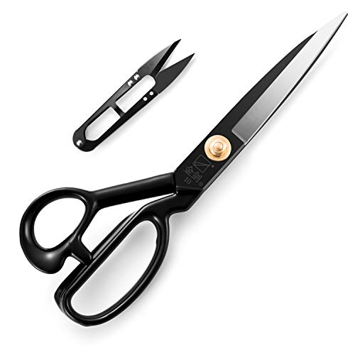 Sewing Scissors, Professional 10 Inch Fabric Dressmaking Scissors Heavy Duty Shears Sharp Cutting for Crafting, Leather, Dressmaking, Tailoring, Altering(Black, Right-Handed)