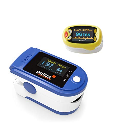 Pulsoximeter Pulox PO-200 Solo Blau Set mit Kinder Fingerpulsoximeter PO-210B
