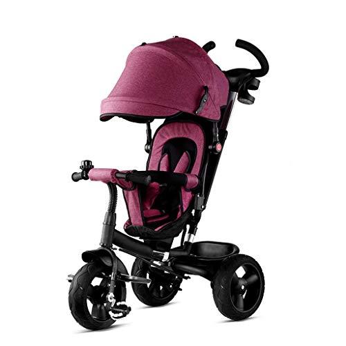 NUBAO Triciclo Triciclo Trike Triciclo Triciclo, Asiento Giratorio para niños 4 en 1 Triciclo multifunción Titanio Titanio Rueda vacía 1-6 años de Edad bebé al Aire Libre sombrilla Triciclo, púrpura