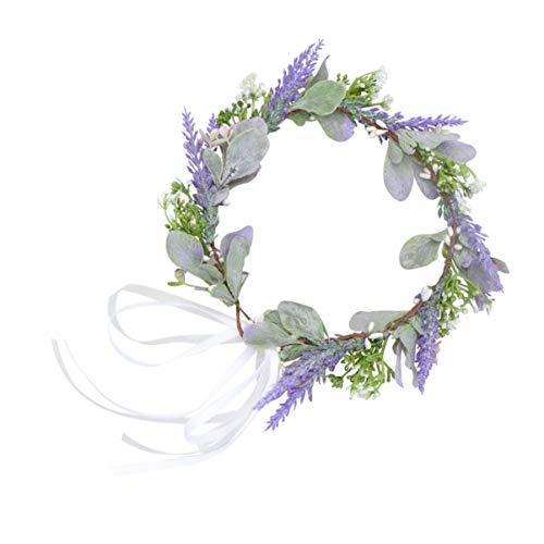 FRCOLOR Coroa De Cabelo de Noiva Casamento Headband Da Flor Folha Verde Praia Floral Crown Mulheres Parágrafos (Roxo)